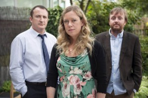 Chris McCausland, Neil Fitzmaurice and Anna Crilly in Jimmy McGovern's Moving On