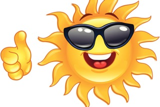 A smiling Sun wearing sunglasses and giving a thumbs-up