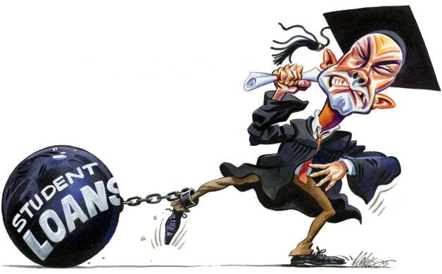 Student dragging a student loan ball and chain behind - Chris McCausland's blog - University isn't very team GB - Image from Cartoons for Creative Change