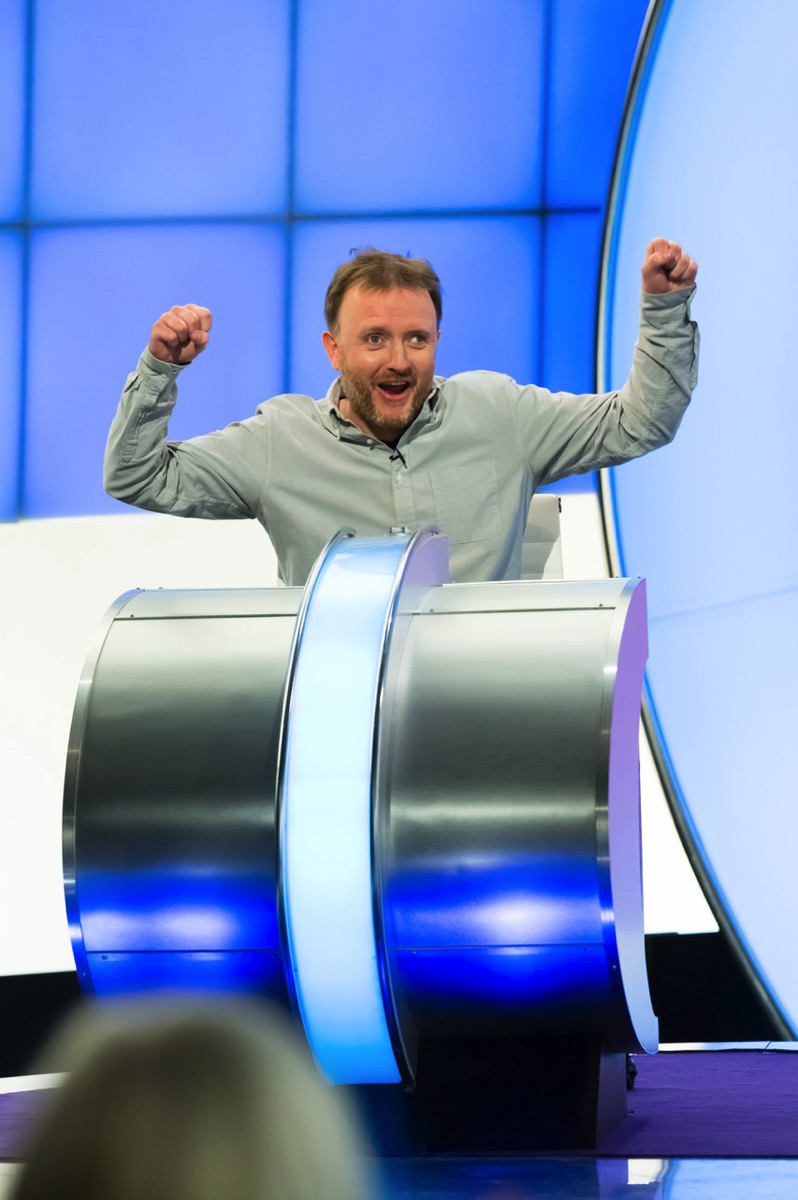 Chris McCausland celebrating with his arms in the air on Would I Lie to You 2021